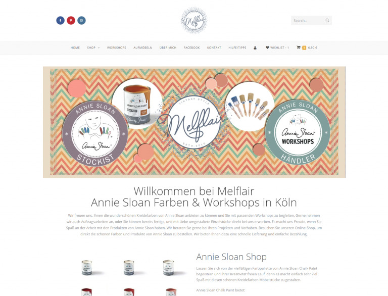 Melflair Online Shop Webseite