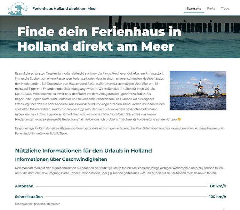 Ferienhaus in Holland Website